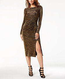 Rachel Zoe Ruched Metallic Midi Dress