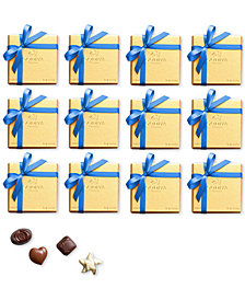 Godiva Set of 12 4-Pc. Gold Gift Boxes With Blue Ribbon