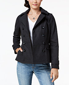 Celebrity Pink Juniors' Double-Breasted Hooded Peacoat