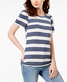 Lucky Brand Striped Puffed-Sleeve Top