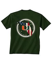 New World Graphics Men's Miami Hurricanes Flag Fill T-Shirt