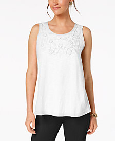 Style & Co Petite Cotton Soutache Swing Top, Created for Macy's