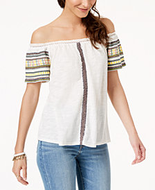 Lucky Brand Embroidered Off-The-Shoulder Top