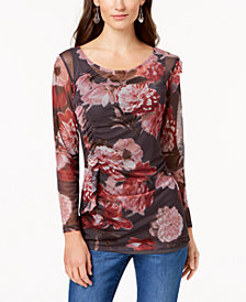 Love Scarlett Petite Ruched Printed-Mesh Top