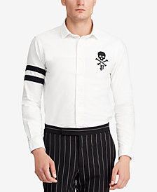 Polo Ralph Lauren Men's Classic Fit Skull and Crossbones Embroidered Oxford Shirt