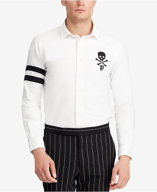 ee16df63 ... Polo Ralph Lauren Men's Classic Fit Skull and Crossbones Embroidered Oxford  Shirt ...