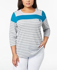 Karen Scott Plus Size Striped Pocket Top, Created for Macy's