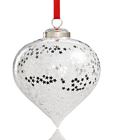 Holiday Lane Star Patterned Glass Ornament, Created for Macy's