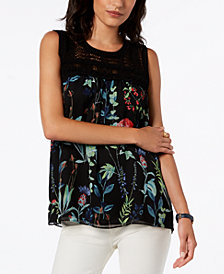 Tommy Hilfiger Printed Crochet Top, Created for Macy's