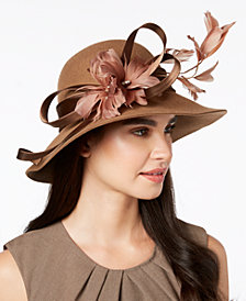 Josette Feather & Flower Embellished Wool Felt Floppy Hat