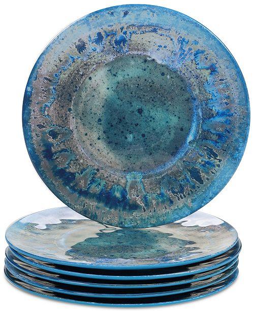 Certified International Radiance Teal Dinner Plates, Set of 6