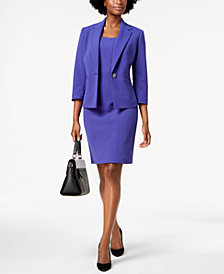 Kasper One-Button Pleat-Back Jacket & Sheath Dress