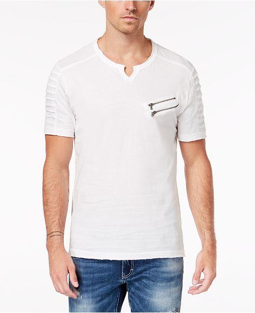 INC International Concepts INC Men's Split-Neck Zipper T-Shirt, Created for Macy's