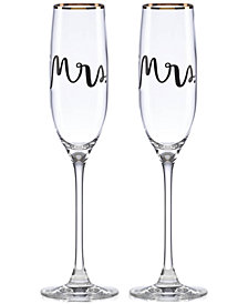 kate spade new york Bridal Party Mrs. & Mrs. Flute Pair