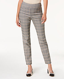Charter Club Petite Plaid Pull-On Pants, Created for Macy's