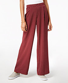 Ultra Flirt by Ikeddi Juniors' Polka-Dot Wide-Leg Pants