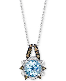 "Le Vian® Sea Blue Aquamarine® (1-1/5 ct. t.w.) & Diamond (1/5 ct. t.w.) 18"" Pendant Necklace in 14k White Gold"