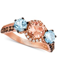 Le Vian® Multi-Gemstone (1-3/8 ct. t.w.) & Diamond (1/4 ct. t.w.) Ring in 14k Rose Gold