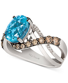Le Vian® Sky Blue Topaz (2-9/10 ct. t.w.) & Diamond (2/3 ct. t.w.) Swirl Ring in 14k White Gold