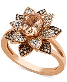 Morganite (1 ct. t.w.) & Diamond (1/2 ct. t.w.) Blossoming Flower Ring in 14k Rose Gold