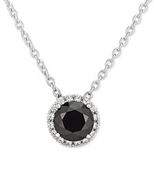 "Black Swarovski Zirconia 18"" Pendant Necklace in Sterling Silver"