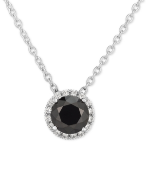 """Black Cubic Zirconia 18"""" Pendant Necklace in Sterling Silver"""
