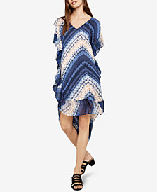 BCBGeneration Shibori Chevron Asymmetrical Midi Dress