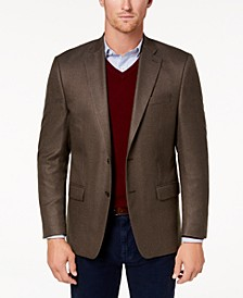Men's Classic-Fit Ultra-Flex Stretch Brown Multi-Tic Sport Coat