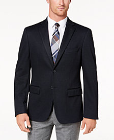 Ryan Seacrest Distinction™ Men's Modern-Fit Stretch Navy Pindot Knit Sport Coat, Created for Macy's