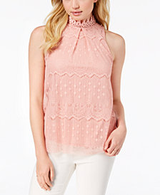 BCX Juniors' Lace Mock-Neck Top