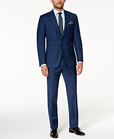 Tallia Men's Slim-Fit Stretch Navy Plaid Suit