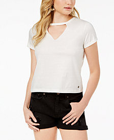 Roxy Juniors' Cotton Embroidered Cutout T-Shirt
