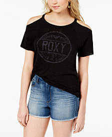 Roxy Juniors' Cold-Shoulder Logo T-Shirt