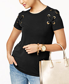 MICHAEL Michael Kors Lace-Up T-Shirt, In Regular & Petite Sizes