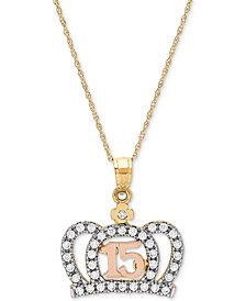 "Cubic Zirconia Quinceañera 16"" Pendant Necklace in 14k Gold, Rose Gold & Rhodium-Plate"