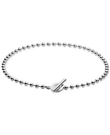"Gucci Beaded 14-1/2"" Toggle Neckace in Sterling Silver"