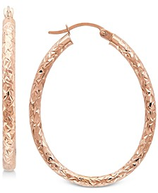 Textured Oval Hoop Earrings in 14k Gold, 1-3/8 inch