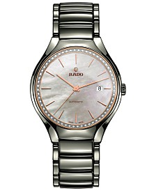 Rado Men's Swiss Automatic True Diamond (1/4 ct. t.w.) Plasma High-Tech Ceramic Bracelet Watch 40mm