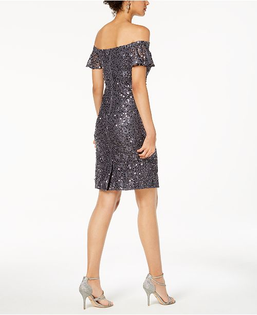 Off Lace Sequined Gray Dress The Shoulder Nightway v8OOx