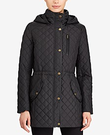 Faux-Leather-Trim Water-Resistant Quilted Jacket