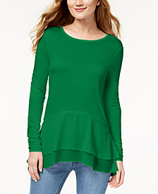 MICHAEL Michael Kors Layered-Hem Top