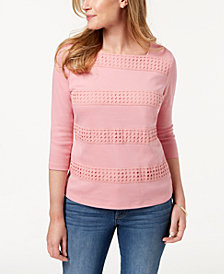 Karen Scott Cotton Crochet-Stripe Top, Created for Macy's