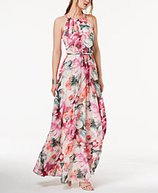 I.N.C. Petite Printed Belted Halter Maxi Dress, Created for Macy's