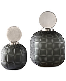 Uttermost Set of 2 Nafuna Charcoal Glass Bottles