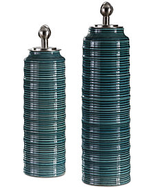 Uttermost Delane Dark Teal Lidded Canisters, Set of 2