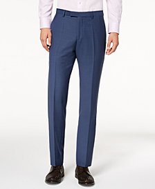 Hugo Boss Men's Modern-Fit Blue Mini-Check Suit Pants