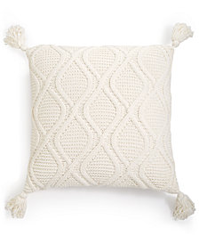 "Martha Stewart Collection Sweater-Knit Chenille 20"" Square Decorative Pillow, Created For Macy's"