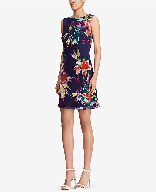 Floral Living amp; American Print Dress Flare Navy Fit Multi q5UBPd