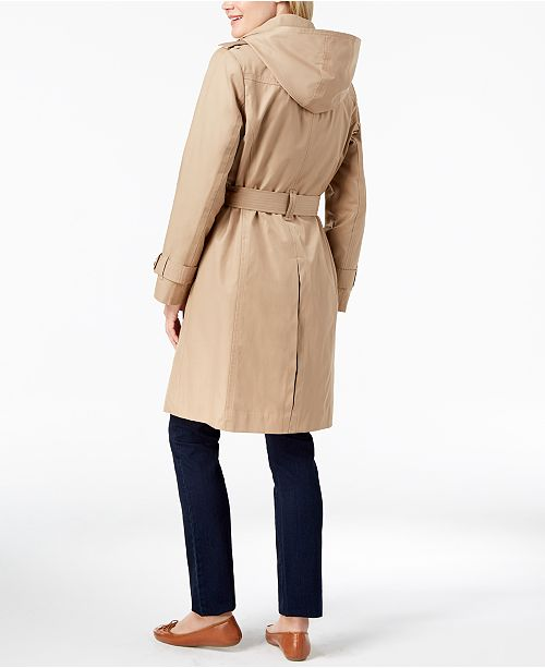 3c157532693 London Fog Hooded Double-Breasted Trench Coat   Reviews - Coats ...