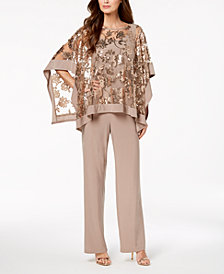 R & M Richards Sequin-Embellished Poncho & Pants